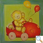 tableau chambre bébé ours voiture